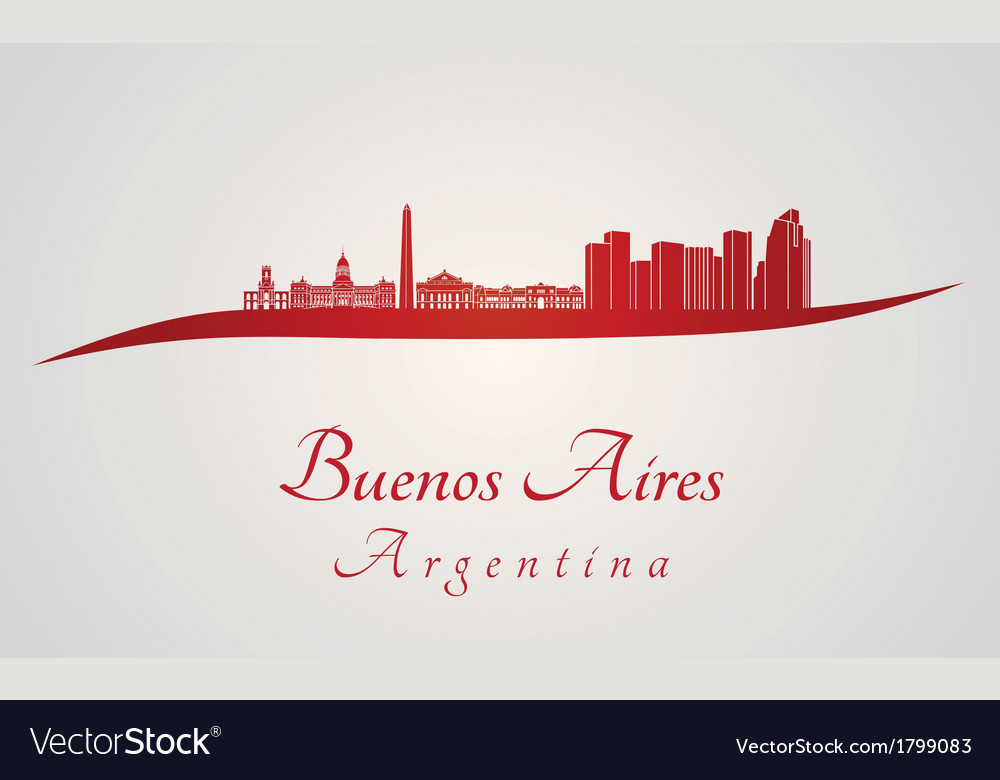 Buenos aires skyline in red vector | Price: 1 Credit (USD $1)
