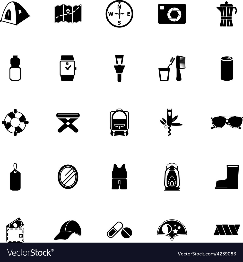 Camping necessary icons on white background vector | Price: 1 Credit (USD $1)