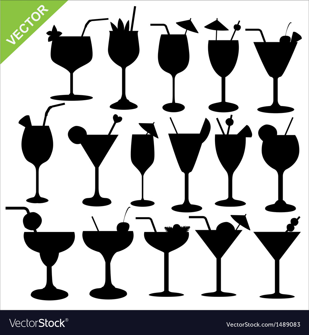 Cocktail silhouettes vector | Price: 1 Credit (USD $1)