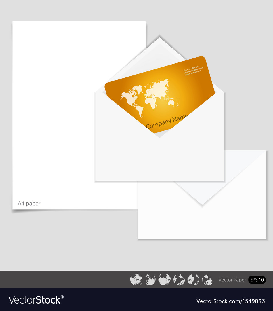 Collection of envelopes and white a4 papers ready vector | Price: 1 Credit (USD $1)