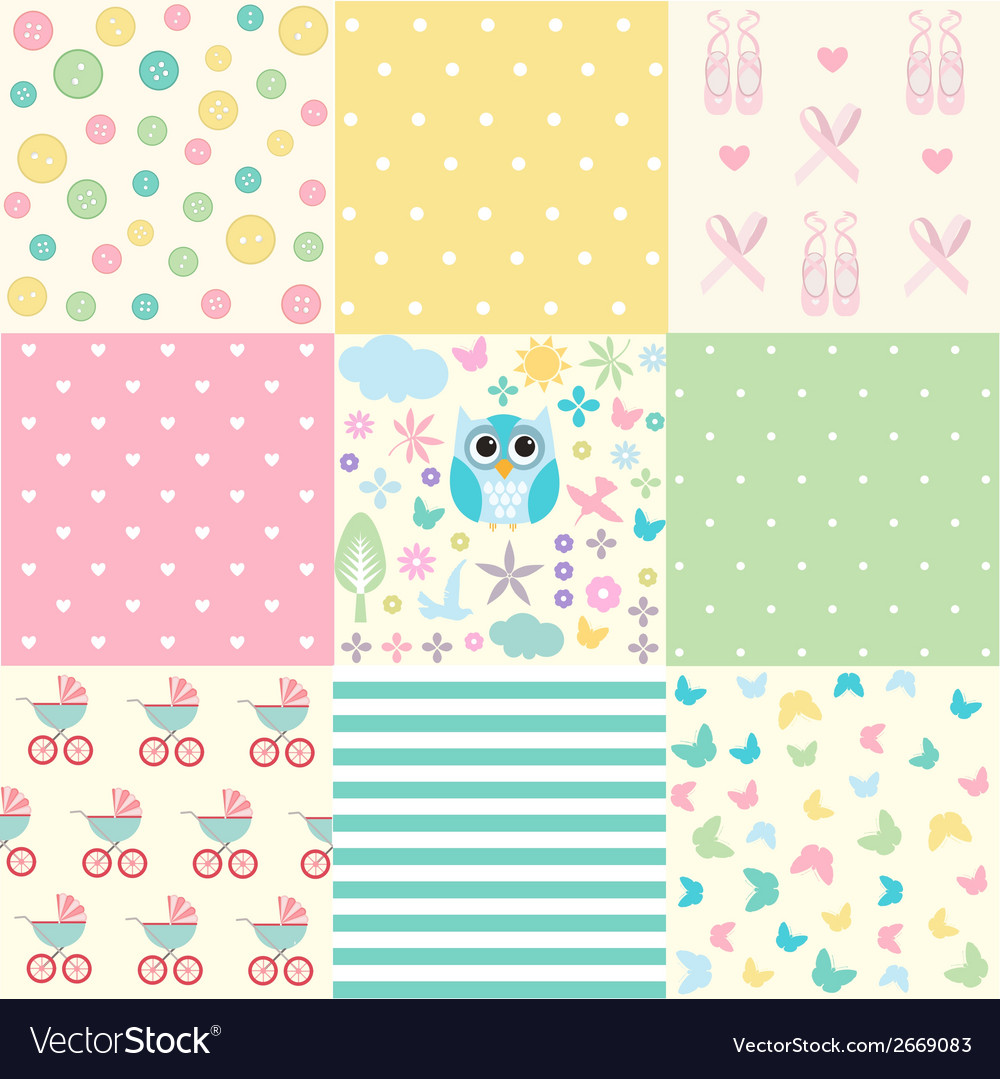 Cute baby seamless set vector | Price: 1 Credit (USD $1)