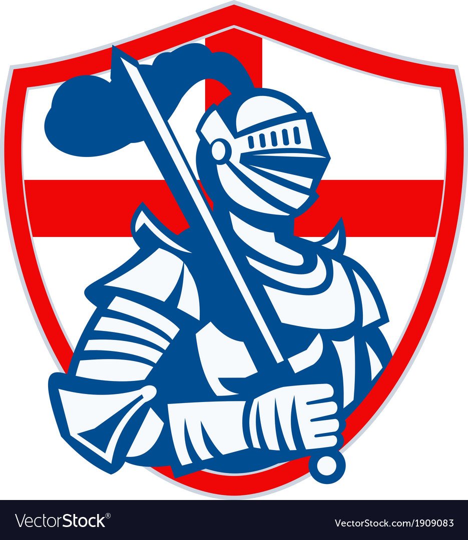 English knight hold sword england shield flag vector | Price: 1 Credit (USD $1)