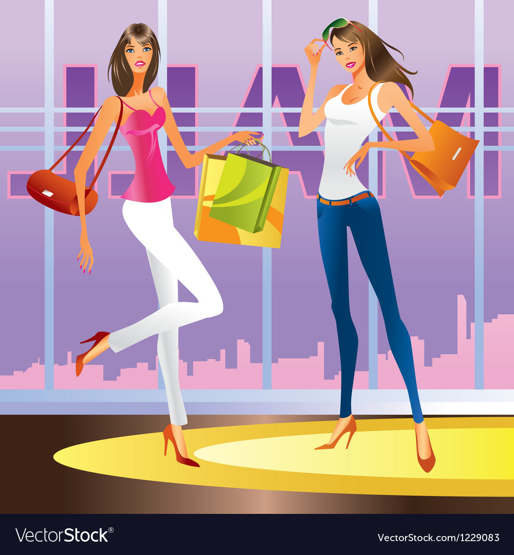 Fashion girls in the mall vector | Price: 1 Credit (USD $1)
