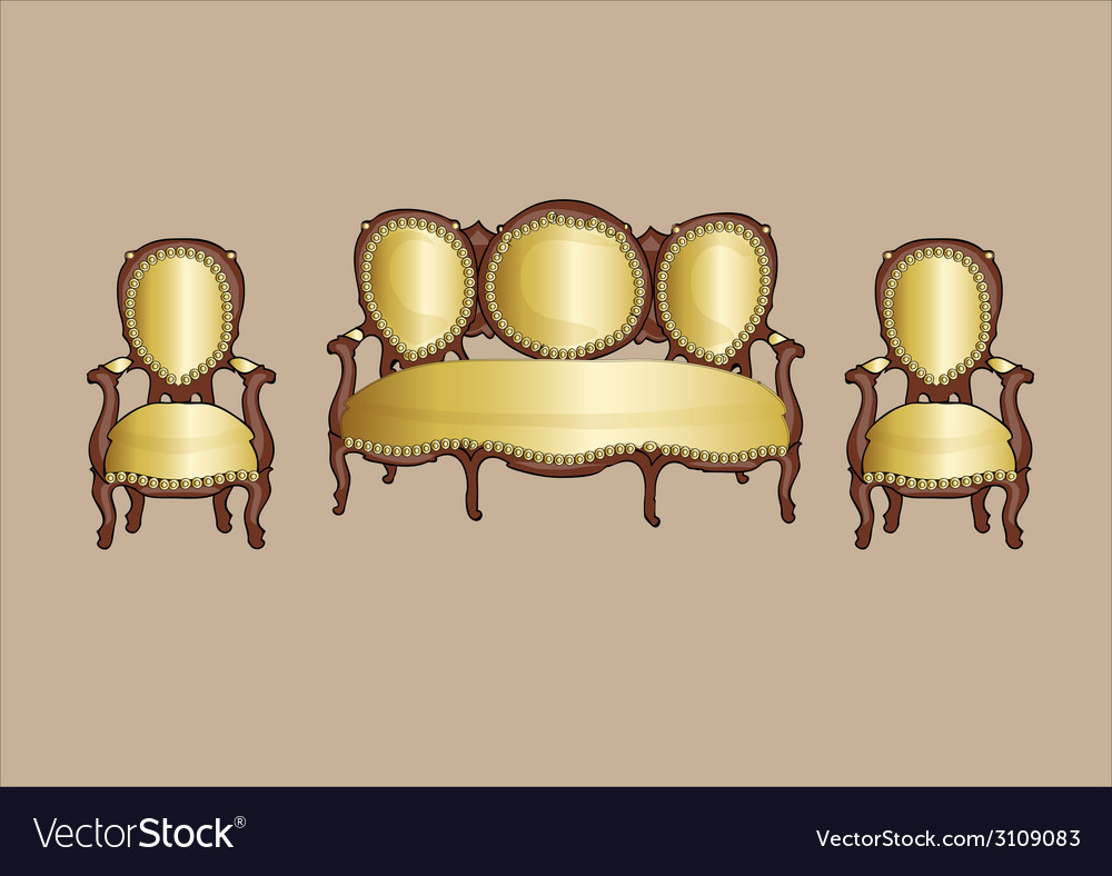 Gold retro armchair and couch - vector | Price: 1 Credit (USD $1)