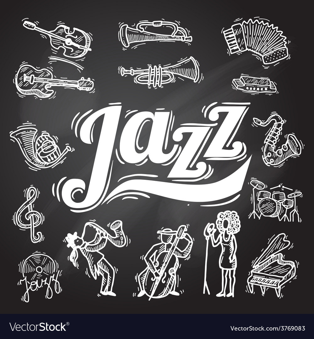 Jazz chalkboard set vector | Price: 1 Credit (USD $1)