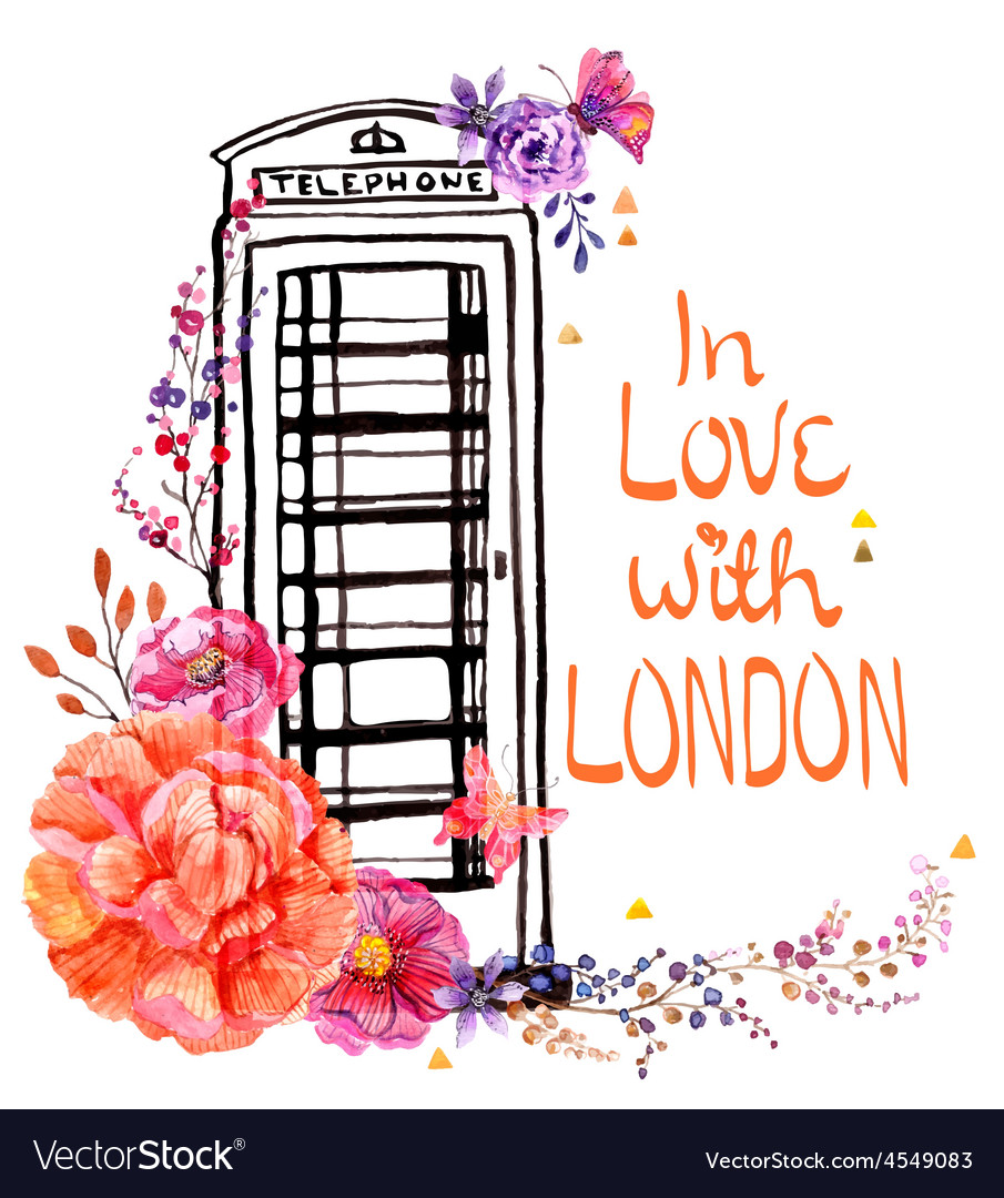 London phone booth with watercolor flowers vector   Price: 1 Credit (USD $1)