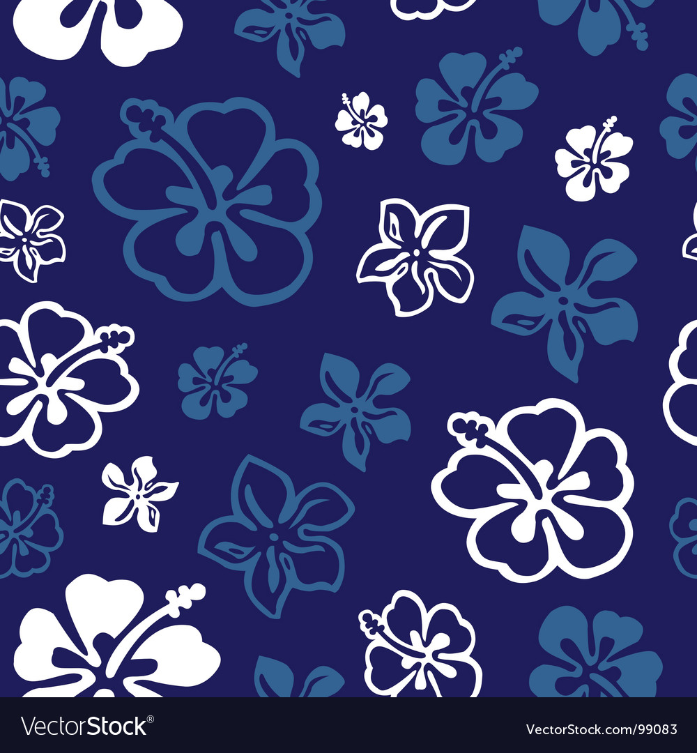 Seamless flower pattern over blue vector | Price: 1 Credit (USD $1)