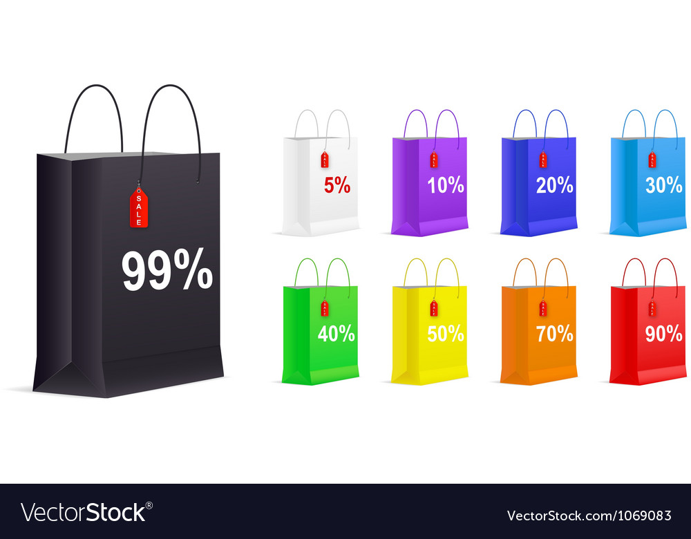 Set of empty shopping bags vector | Price: 1 Credit (USD $1)