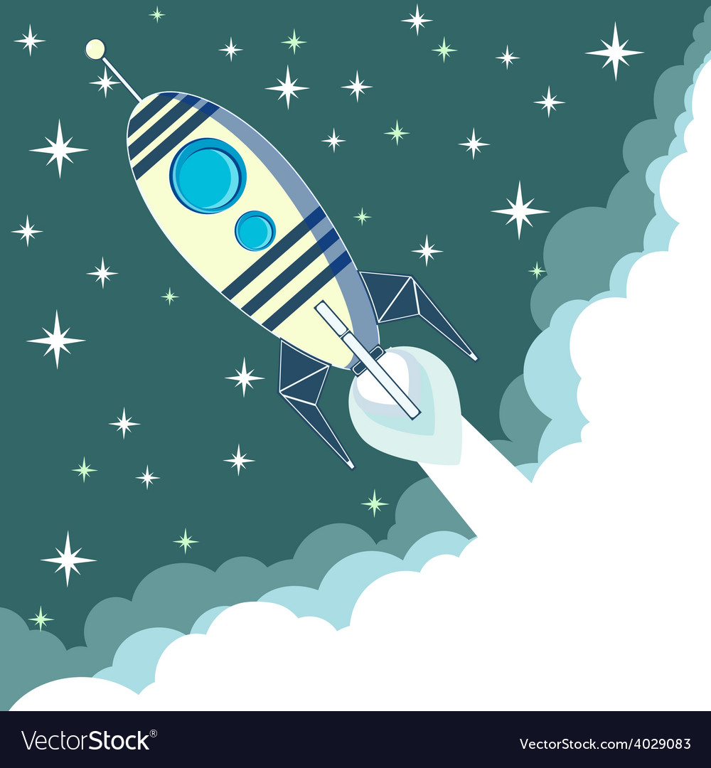 Space rocket in flight vector
