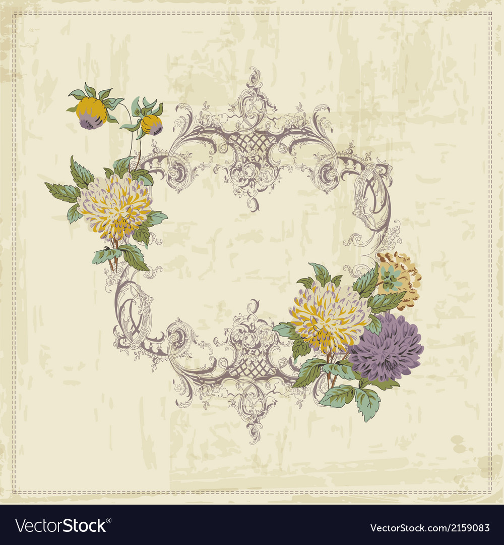 Vintage card  with retro frame and flowers vector