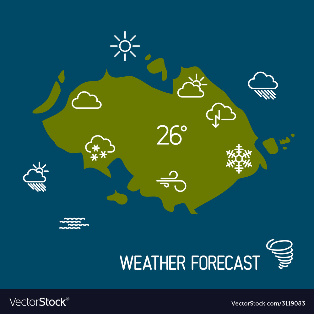 Weather forecast map with flat pointers and icons vector | Price: 1 Credit (USD $1)