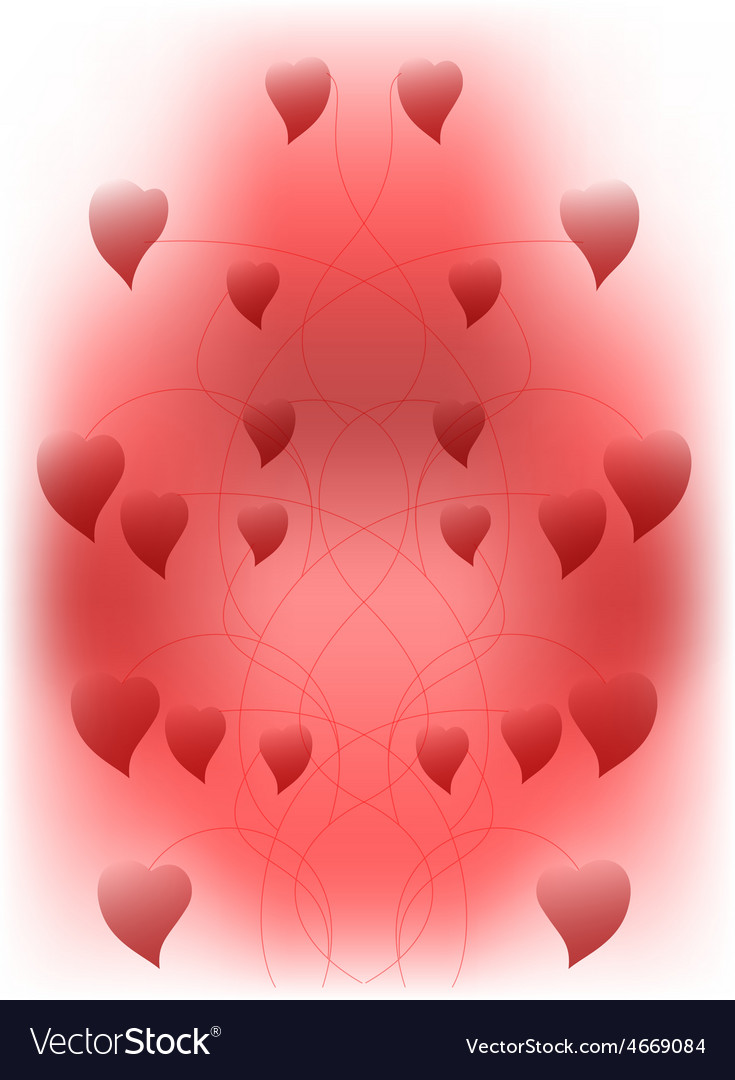 Abstract background with red hearts connected vector | Price: 1 Credit (USD $1)