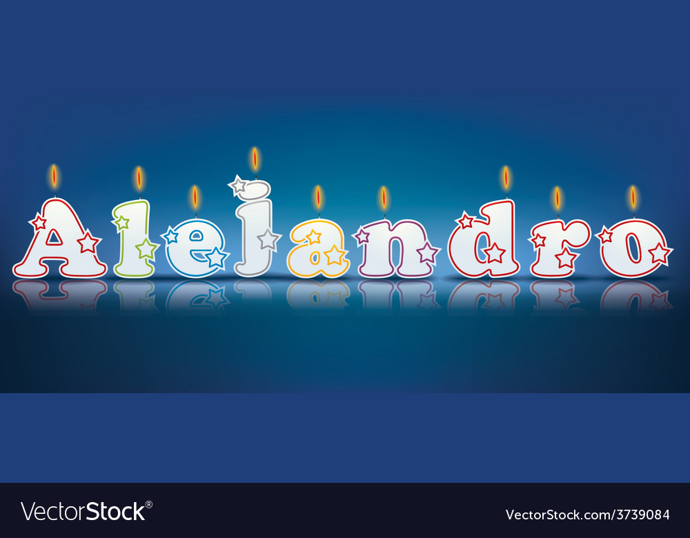Alejandro written with burning candles vector | Price: 1 Credit (USD $1)