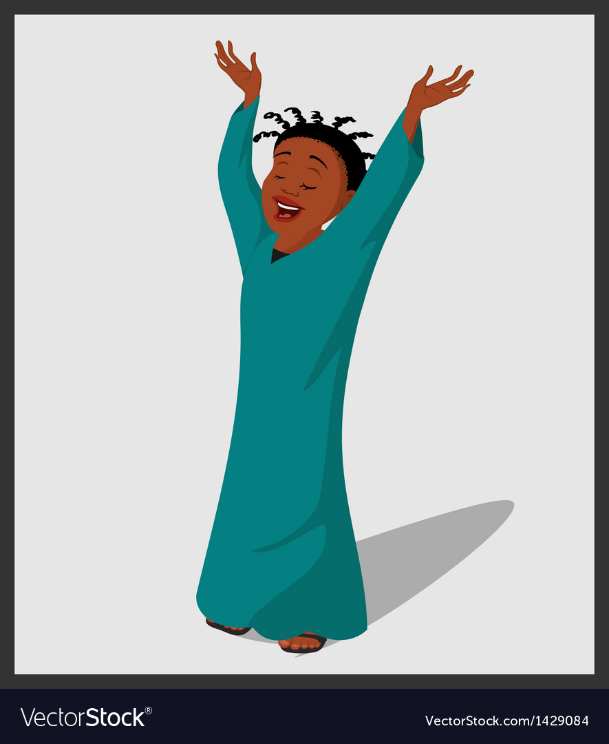 Baptist religious lady singing vector | Price: 1 Credit (USD $1)