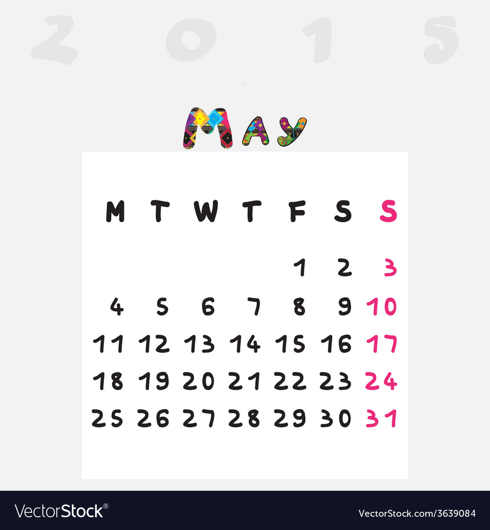 Calendar 2015 may vector | Price: 1 Credit (USD $1)