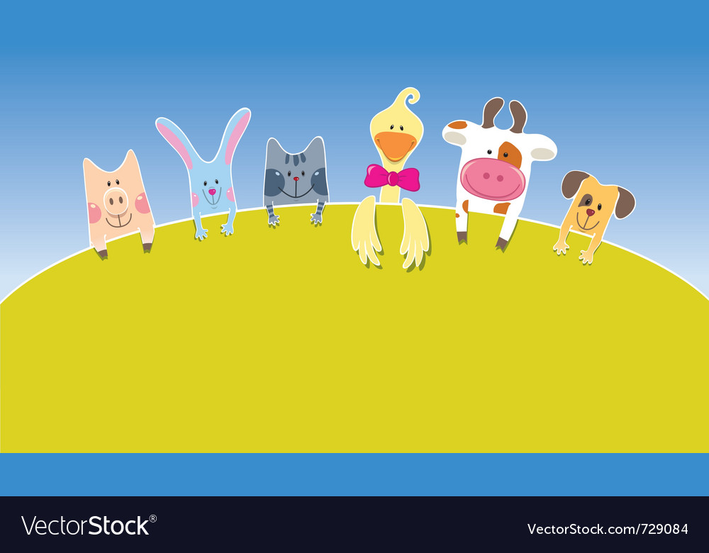 Cartoon farm animals day vector | Price: 1 Credit (USD $1)