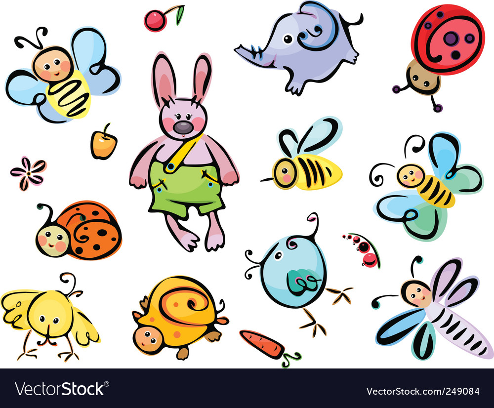 Cute animals and insects vector | Price: 3 Credit (USD $3)