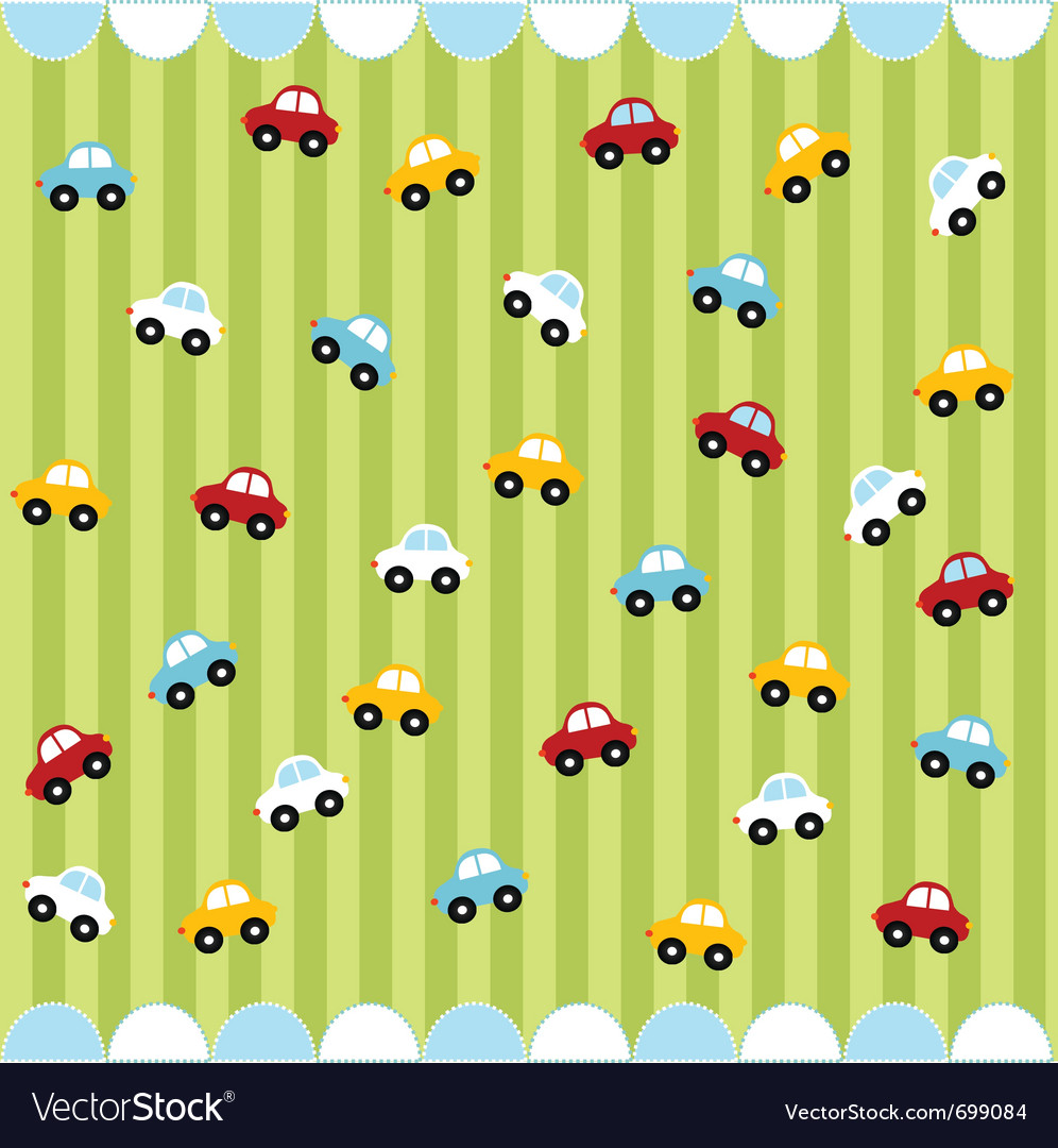 Cute seamless pattern with little cars vector | Price: 1 Credit (USD $1)