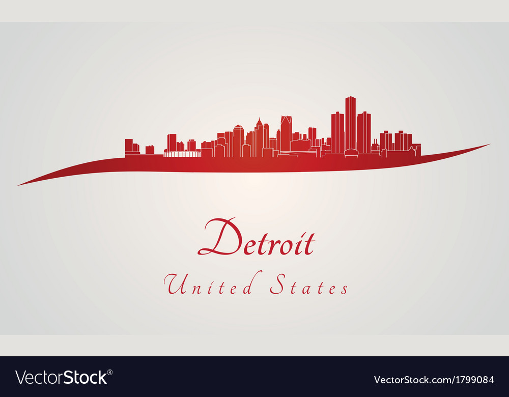Detroit skyline in red vector | Price: 1 Credit (USD $1)