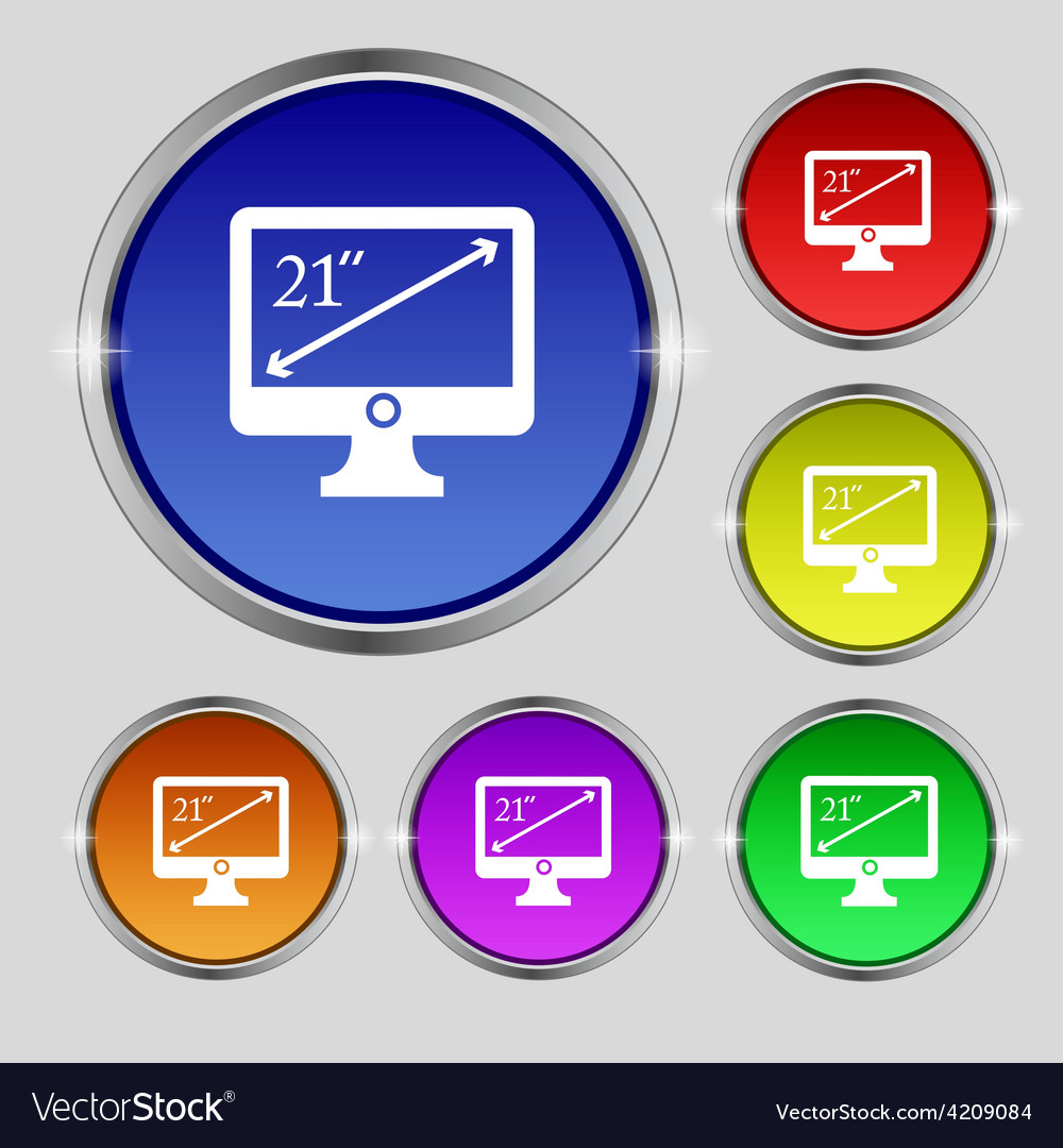 Diagonal of the monitor 21 inches icon sign round vector | Price: 1 Credit (USD $1)