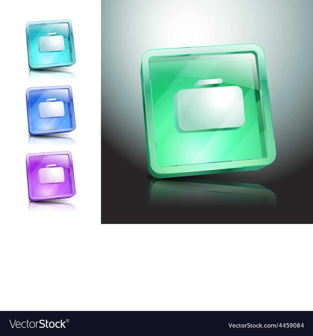 Glass icons set briefcase bag green vector   Price: 1 Credit (USD $1)