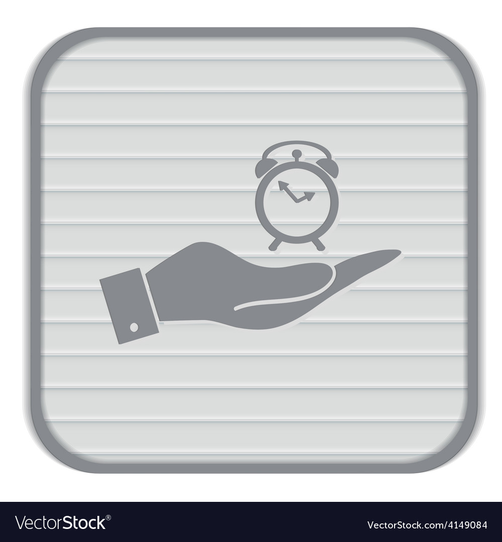 Hand holding a symbol morning alarm icon the vector | Price: 1 Credit (USD $1)