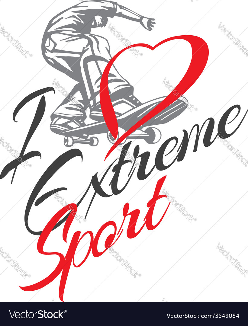 I love extreme sport skateboarder and hearts vector | Price: 1 Credit (USD $1)