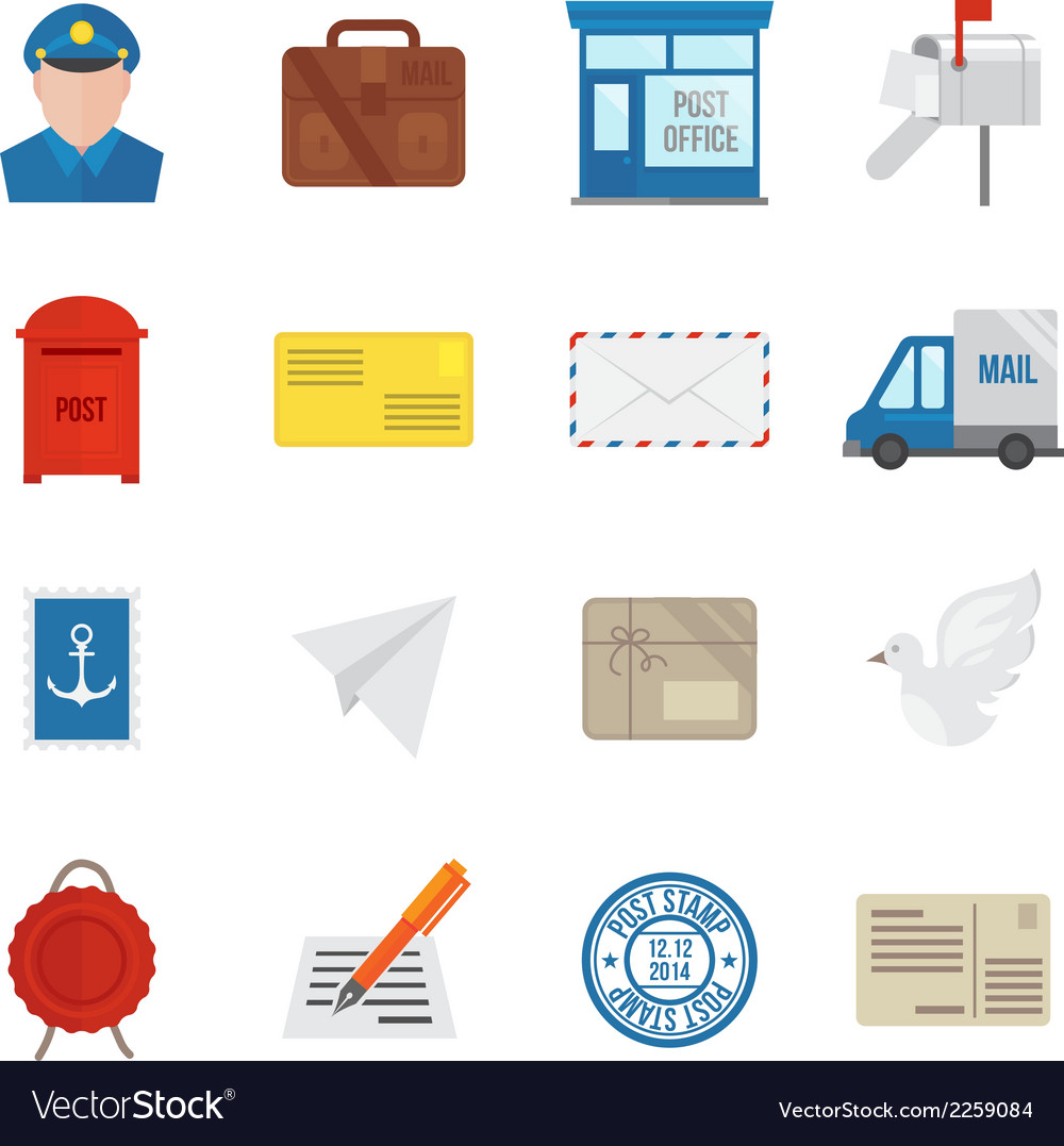 Post service icons flat vector | Price: 1 Credit (USD $1)