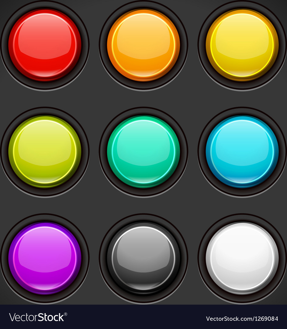Set of colorful buttons vector | Price: 1 Credit (USD $1)