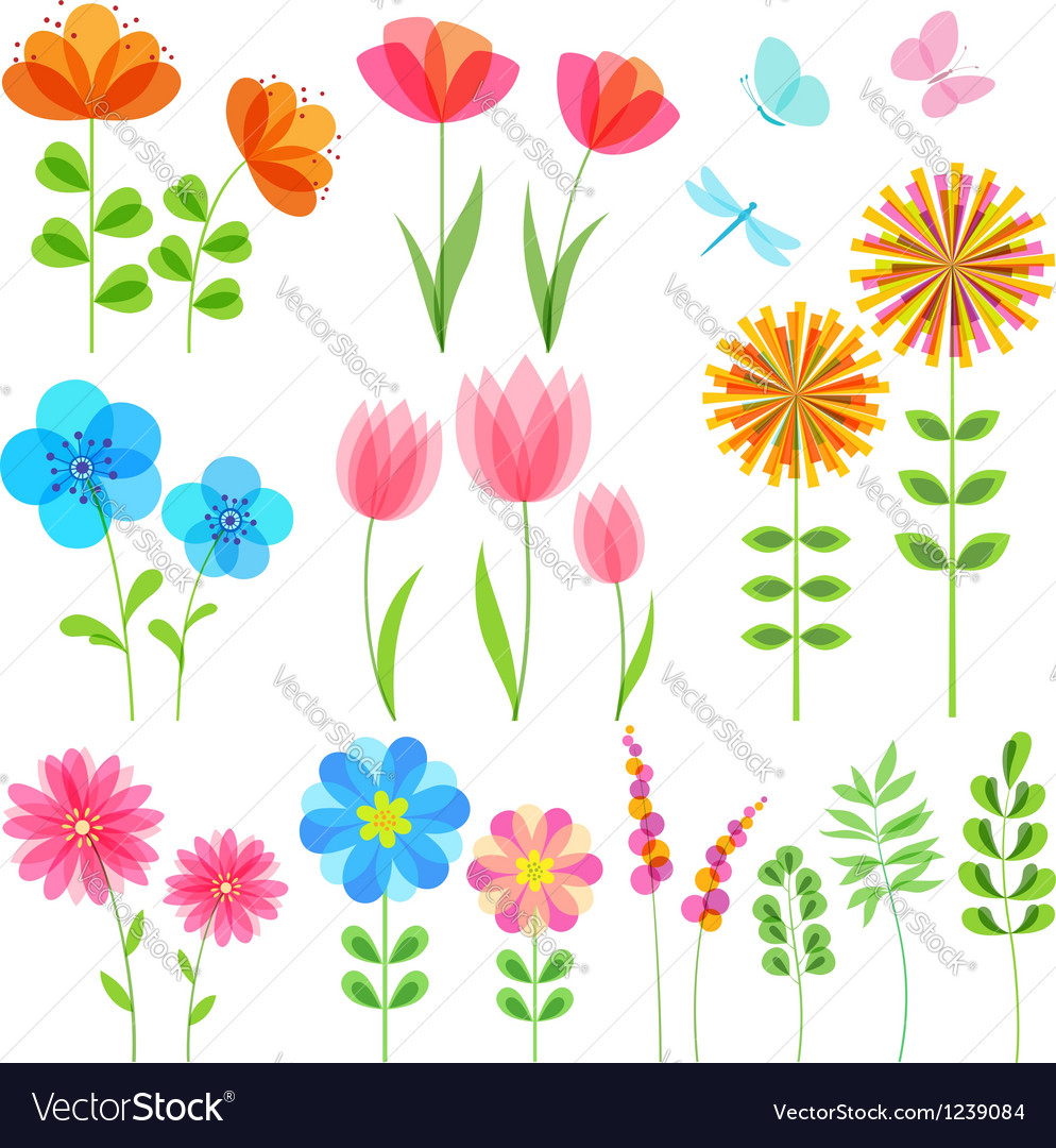 Set of floral elements vector | Price: 1 Credit (USD $1)