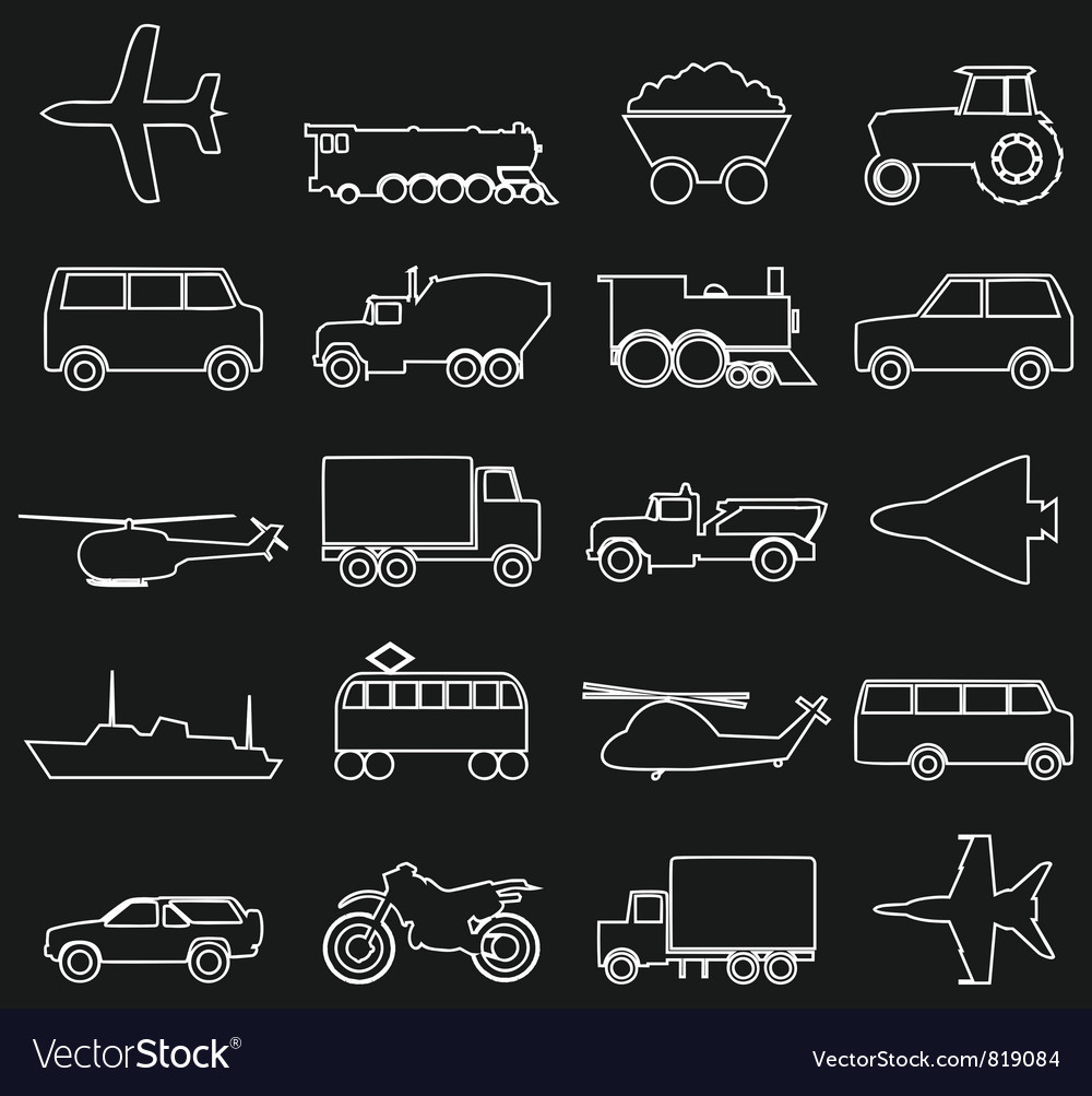 Transport outline icons vector | Price: 1 Credit (USD $1)