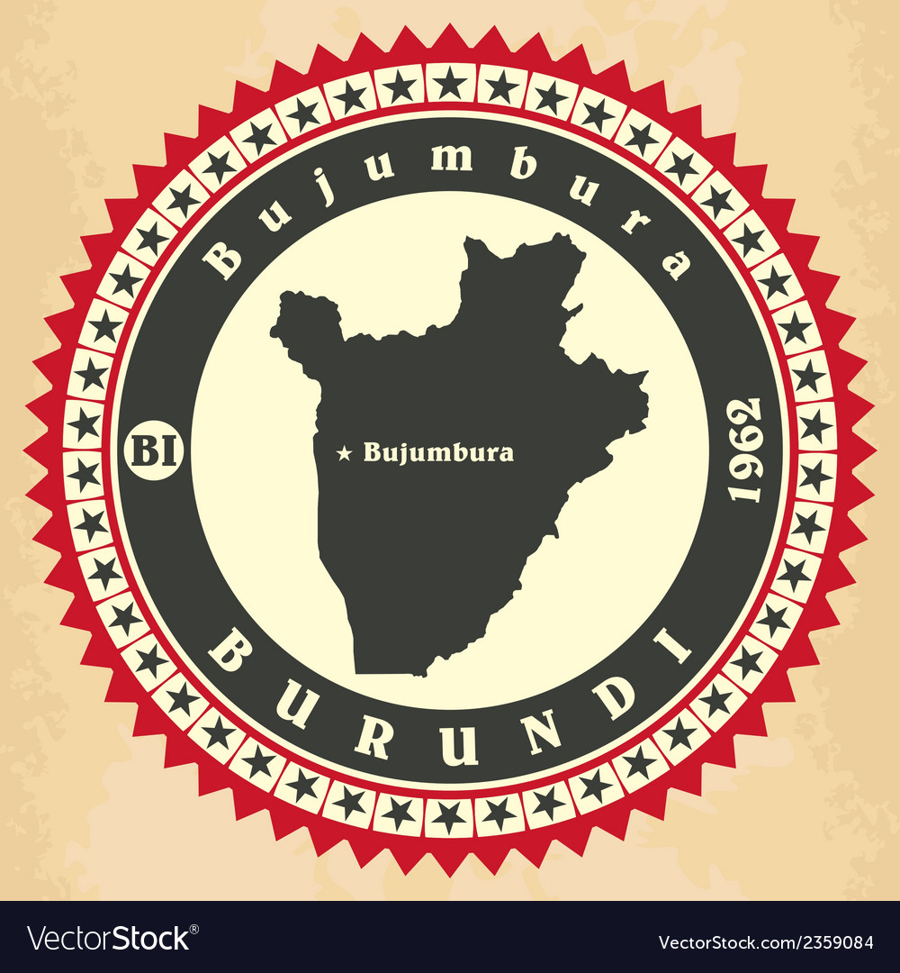 Vintage label-sticker cards of burundi vector | Price: 1 Credit (USD $1)