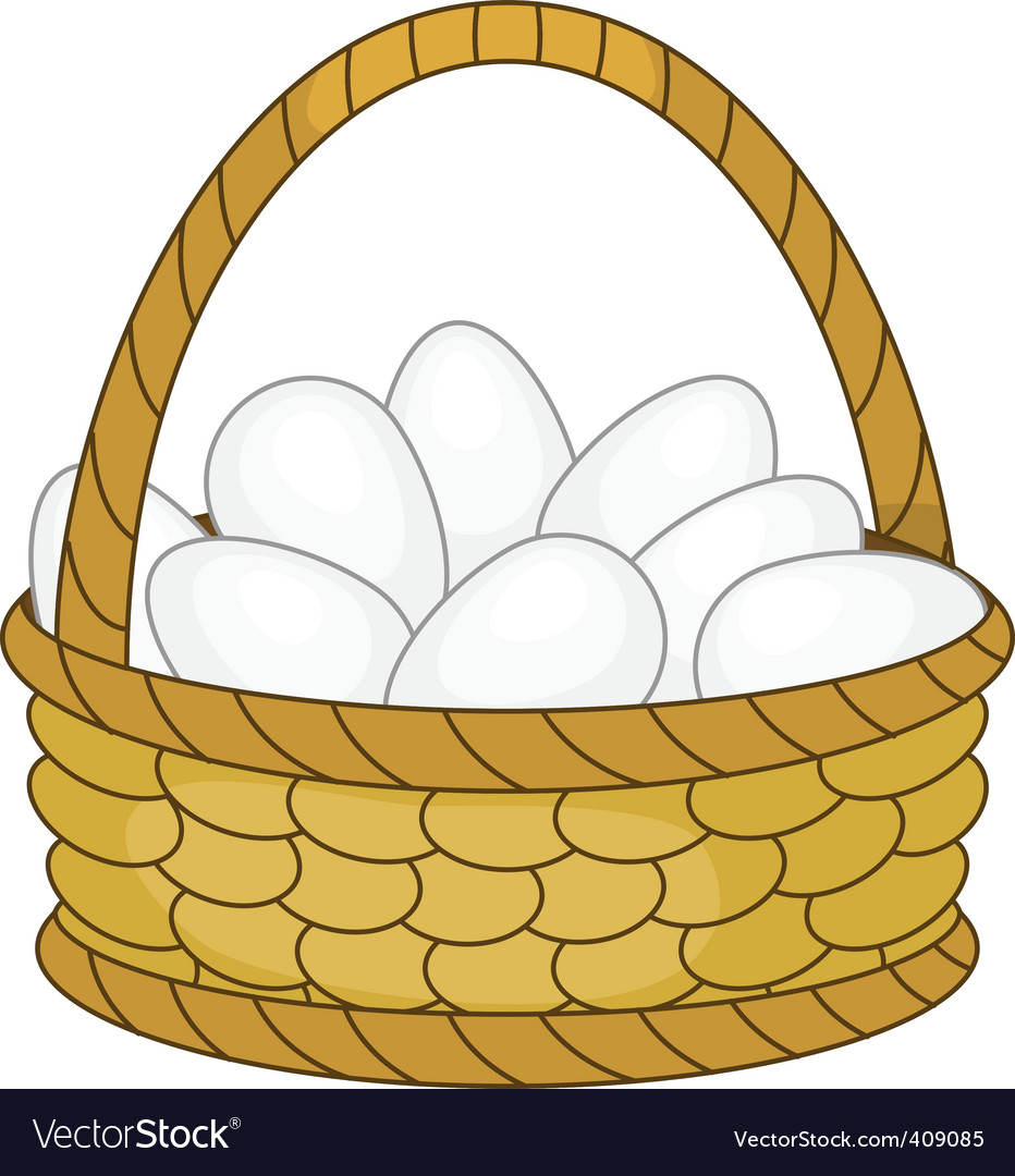 Basket with eggs vector | Price: 1 Credit (USD $1)