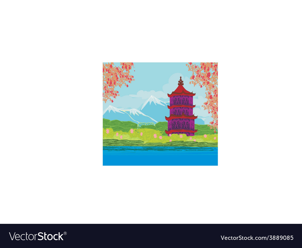 Beautiful landscape in japan vector | Price: 1 Credit (USD $1)