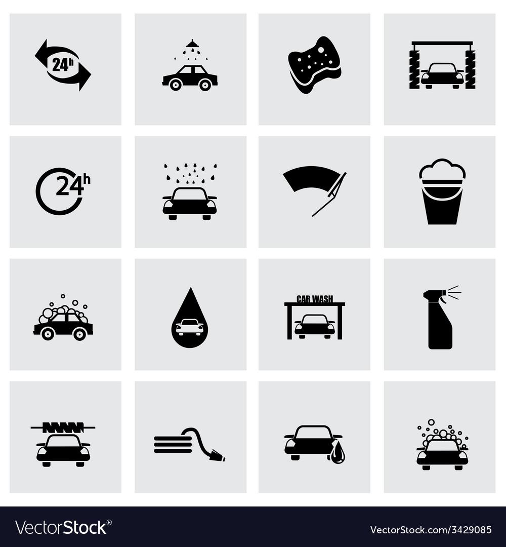 Black car wash icon set vector | Price: 1 Credit (USD $1)