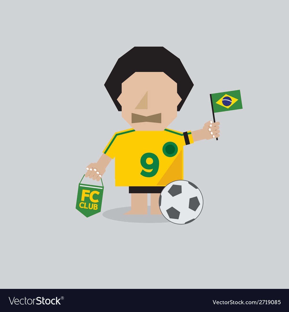 Brazilian soccer or football man vector | Price: 1 Credit (USD $1)