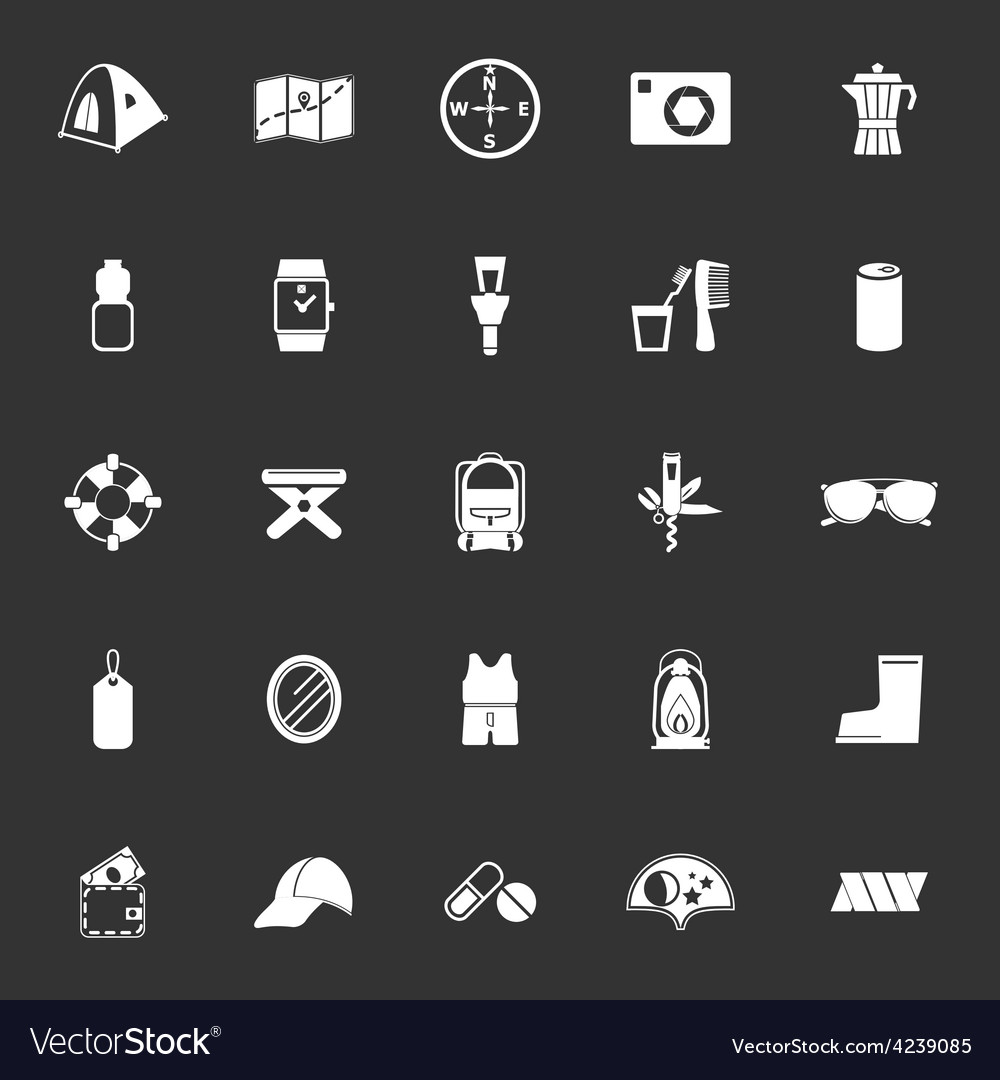 Camping necessary icons on gray background vector | Price: 1 Credit (USD $1)