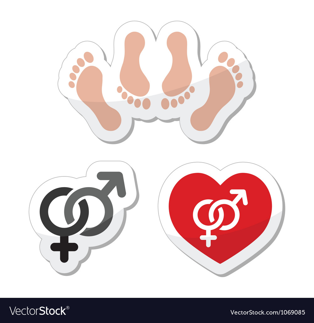 Couple sex making love icons as labels set vector | Price: 1 Credit (USD $1)