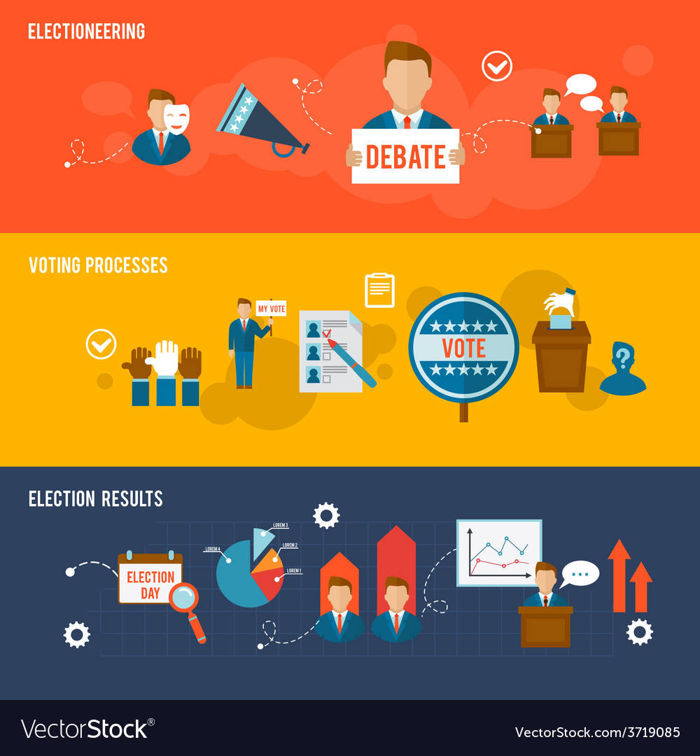Election banner set vector | Price: 1 Credit (USD $1)