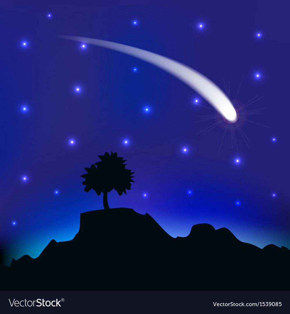 Flying comet in the night sky vector | Price: 1 Credit (USD $1)
