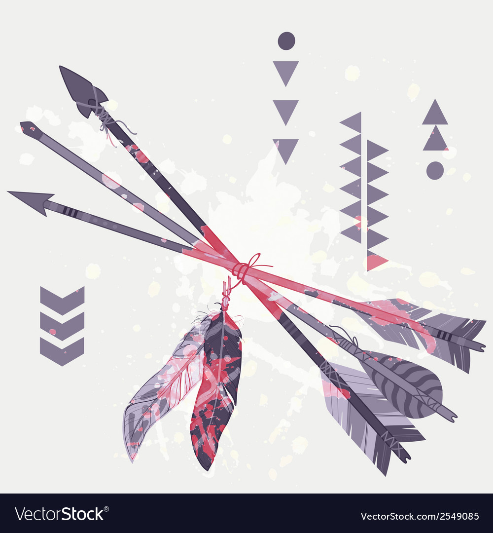 Grunge of different ethnic arrows with feath vector | Price: 1 Credit (USD $1)