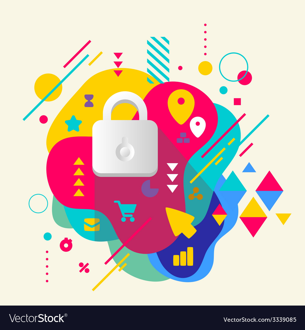 Lock on abstract colorful spotted background with vector | Price: 3 Credit (USD $3)