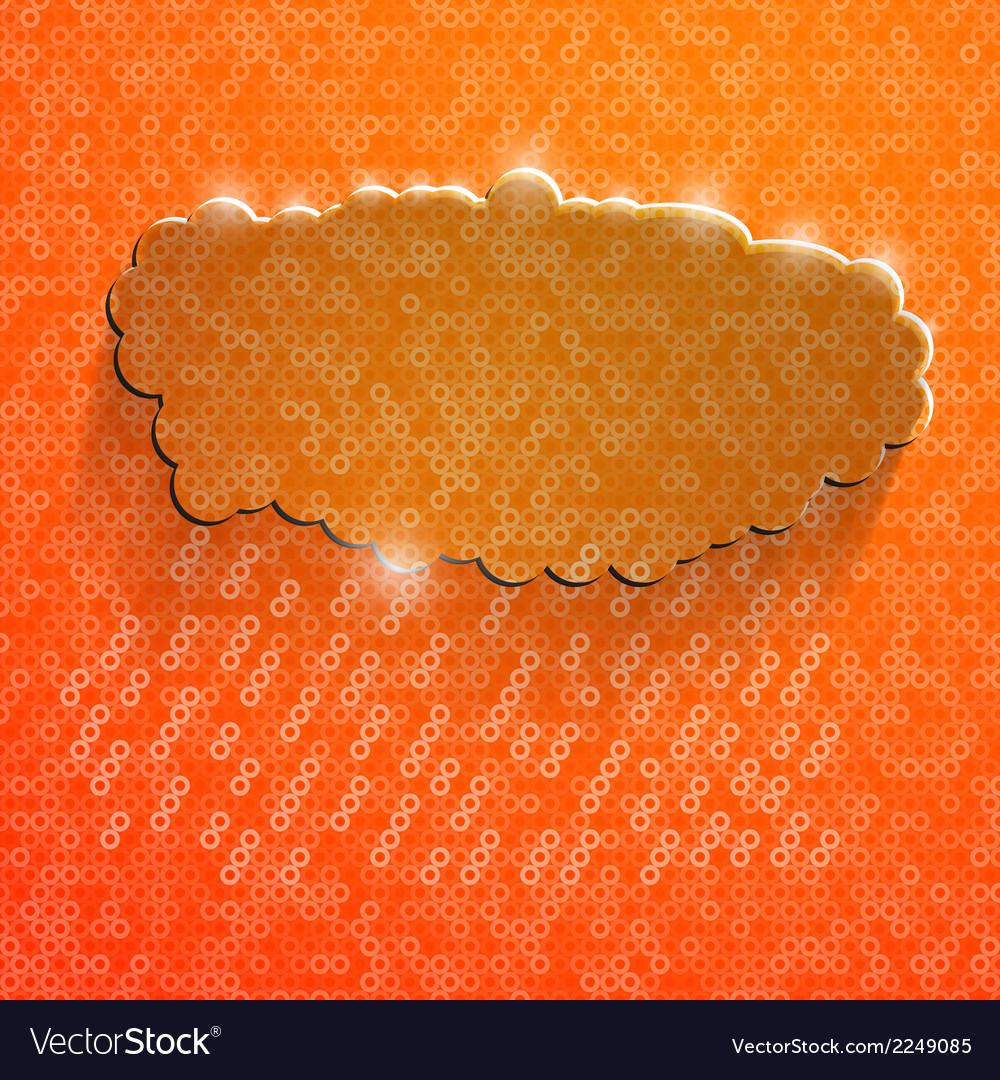 Orange eco glossy glass cloud icon vector | Price: 1 Credit (USD $1)