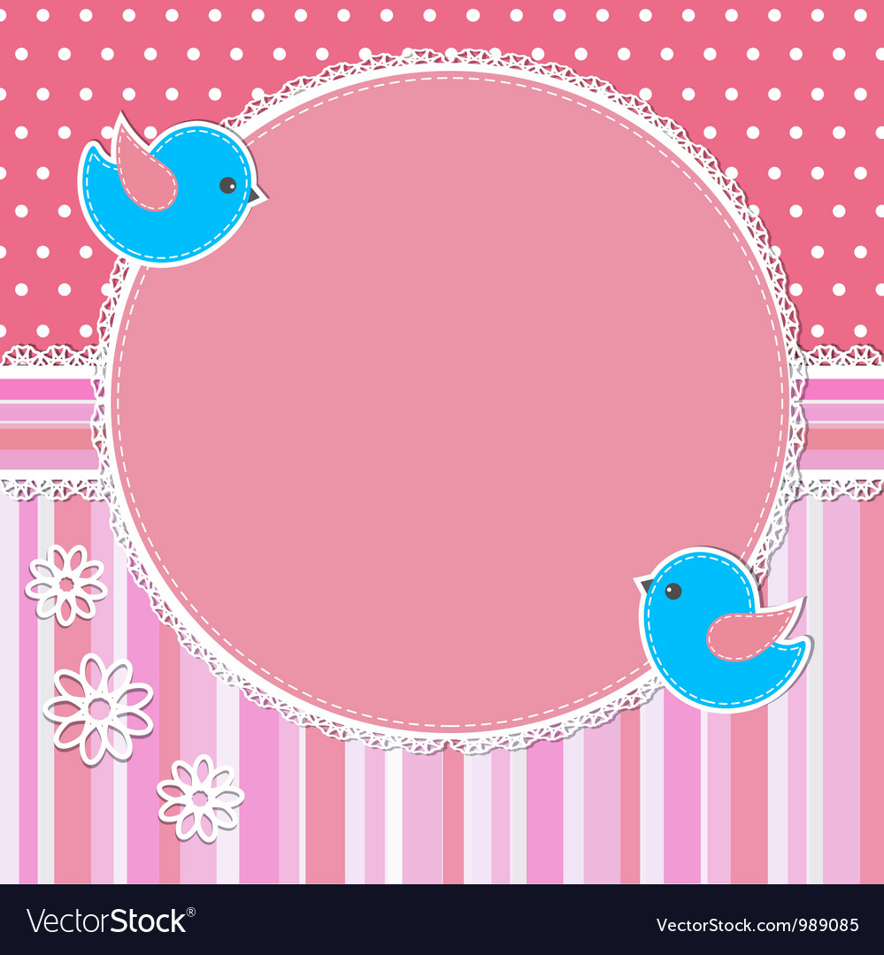 Pink frame with birds and flowers vector | Price: 1 Credit (USD $1)
