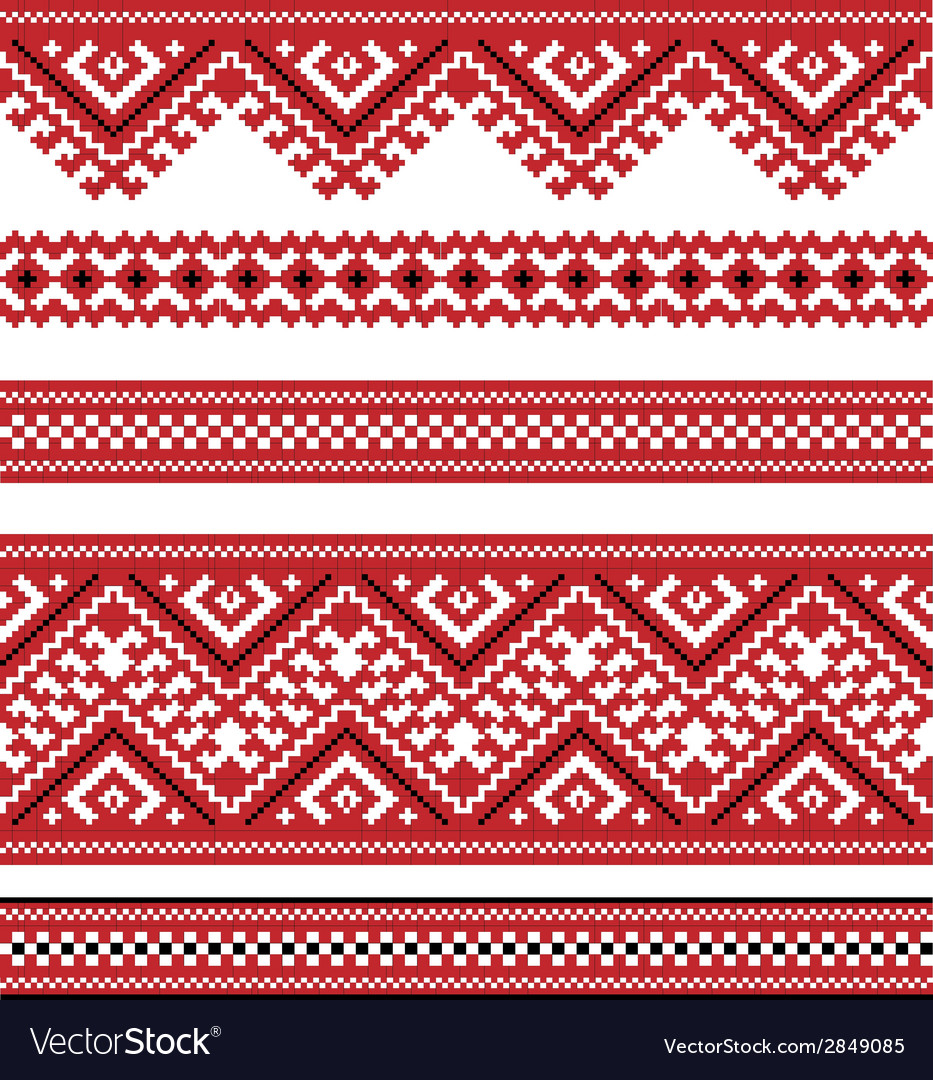 Red color embroidered good like handmade vector | Price: 1 Credit (USD $1)