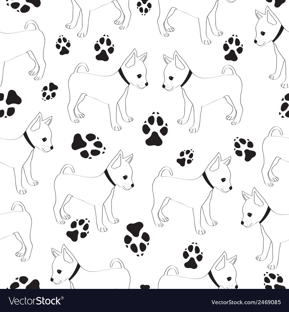 Russian toy terrier seamless pattern with dogs vector | Price: 1 Credit (USD $1)