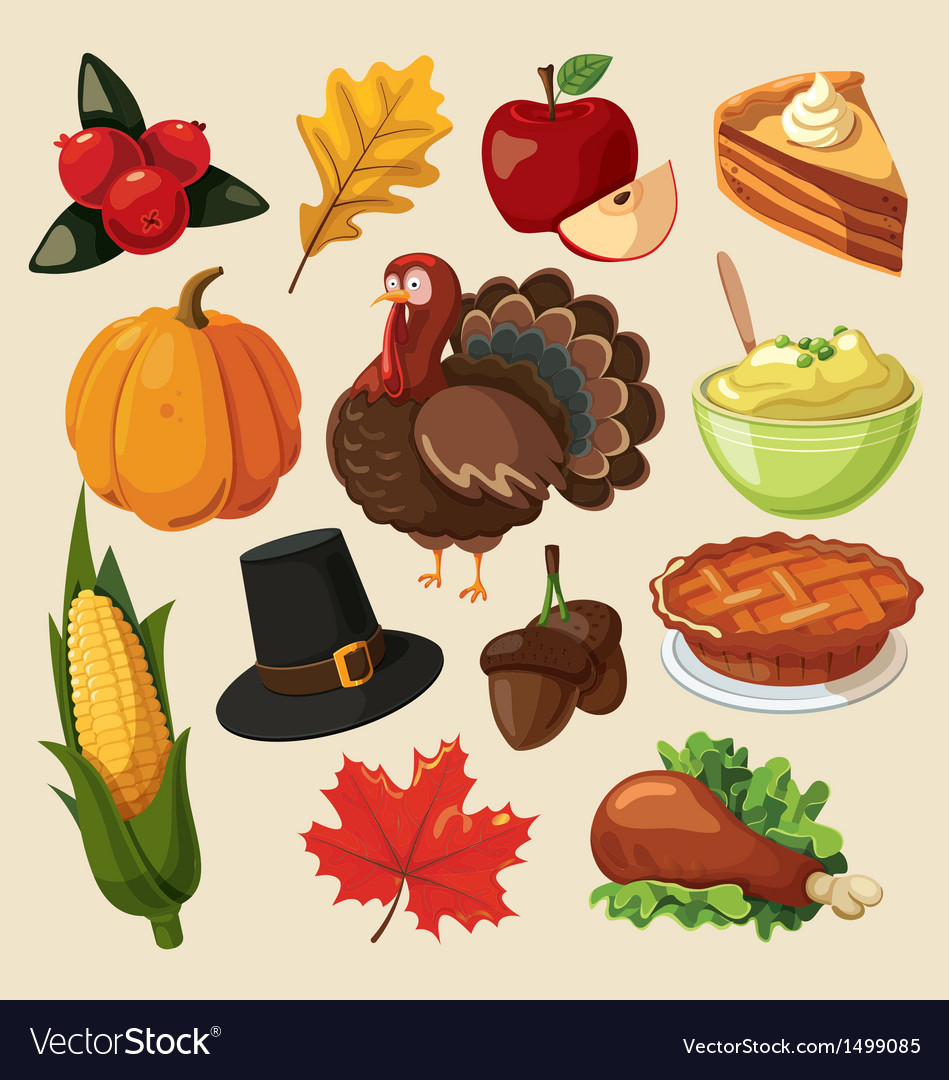 Set of colorful cartoon icons for thanksgiving day vector | Price: 3 Credit (USD $3)
