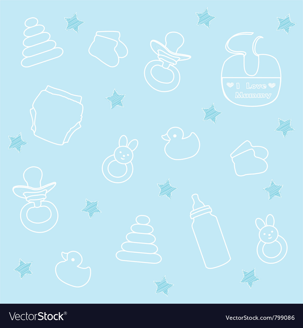 Baby boy elements blue background vector | Price: 1 Credit (USD $1)