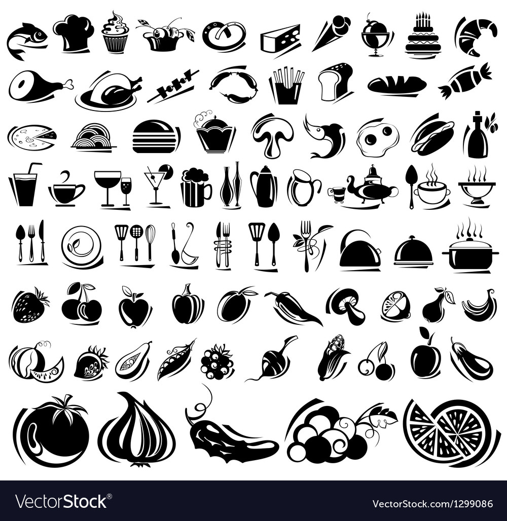 Black food icons vector | Price: 1 Credit (USD $1)