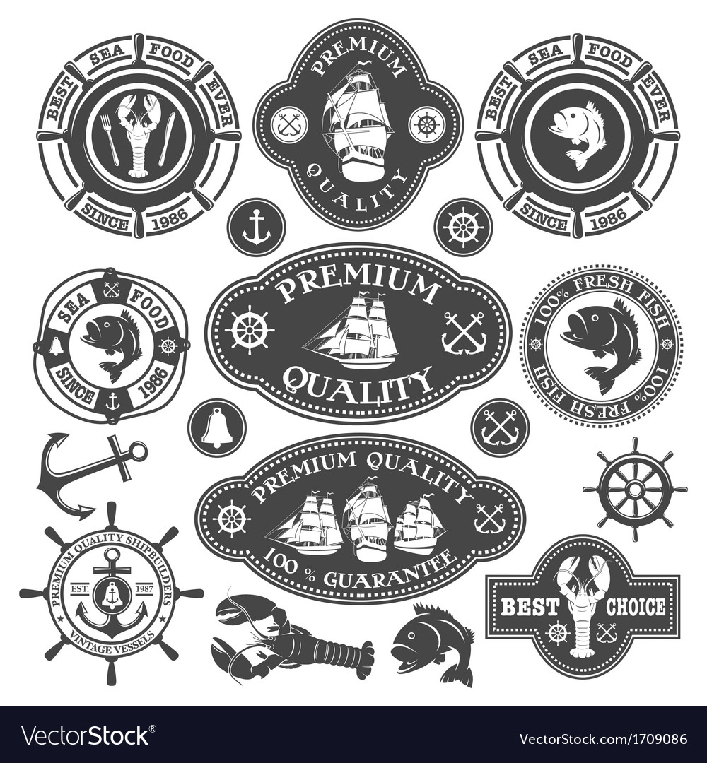 Nautical labels set vector | Price: 1 Credit (USD $1)